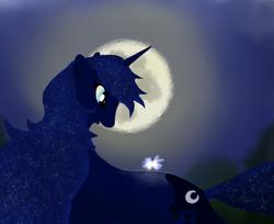 Size: 1018x830 | Tagged: safe, artist:grayma1k, princess luna, alicorn, firefly (insect), pony, moon, solo