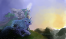 Size: 1024x613 | Tagged: safe, artist:grayma1k, princess celestia, princess luna, alicorn, pony, duo, sunrise