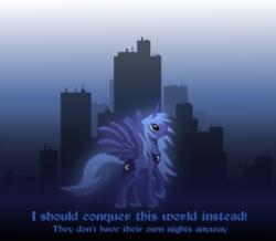Size: 911x794 | Tagged: safe, artist:grayma1k, princess luna, alicorn, pony, city, solo