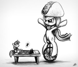 Size: 1262x1080 | Tagged: safe, trixie, twilight sparkle, pony, unicorn, black and white, cape, chalupa, chess, clothes, doll, female, grayscale, mare, monochrome, taco, unicycle