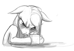 Size: 563x395 | Tagged: safe, artist:hattonslayden, pinkie pie, coffee, monochrome, morning ponies, pinkamena diane pie, sketch