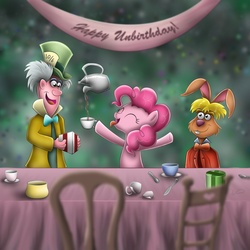 Size: 1200x1200 | Tagged: safe, artist:wdeleon, pinkie pie, human, pony, alice in wonderland, bipedal, crossover, cup, eyes closed, hat, mad hatter, table, tea, teacup, teapot, trio