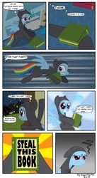 Size: 838x1529 | Tagged: safe, artist:gonzahermeg, rainbow dash, read it and weep, book, catsuit, comic, sneaking
