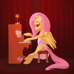 Size: 1368x1368 | Tagged: safe, artist:sparva, fluttershy, piano, solo