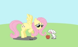 Size: 5107x3109 | Tagged: angel bunny, apple, artist:ter0k, fluttershy, safe
