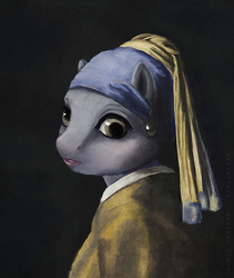 Size: 700x828 | Tagged: anthro, artist:cosmicunicorn, derpy hooves, earring, fine art parody, girl with a pearl earring, johannes vermeer, parody, safe