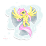 Size: 1940x1940 | Tagged: angel, artist:stec-corduroyroad, bashful, cloud, cute, fluttershy, fluttershy the angel, flying, pegasus, pink, pony, safe, simple background, smiling, snow, snow angel, solo, transparent background, wings, wink, yellow