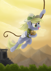 Size: 1968x2713 | Tagged: safe, artist:dawnmistpony, daring do, derpy hooves, pegasus, pony, bandage, clothes, costume, female, hat, mare, muffin, rope, solo