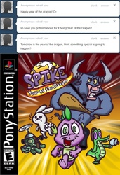Size: 600x879   Tagged: safe, angel bunny, gummy, iron will, spike, tank, ask spike da dragon, game cover, parody, playstation, spyro the dragon, video game