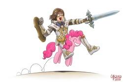 Size: 1200x800 | Tagged: safe, artist:thebourgyman, pinkie pie, human, armor, fantasy class, knight, riding, shield, sword, warrior