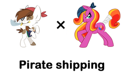 Size: 661x449 | Tagged: safe, feathermay, pipsqueak, earth pony, pony, bandana, female, male, pinto, pipmay, pirate, pun, shipping, simple background, straight, tail wrap, white background