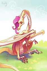 Size: 2874x4311 | Tagged: safe, artist:holivi, fluttershy, dragon, dragonified, exclamation point, flutterdragon, interrobang, question mark, species swap