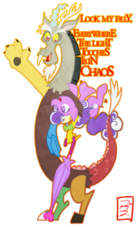 Size: 766x1278 | Tagged: safe, artist:cruddydoodles, discord, screwball, carrying, chaos, dialogue, hat, parody, propeller hat, swirly eyes, the lion king, umbrella, upside down