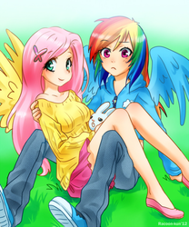 Size: 800x960 | Tagged: angel bunny, artist:racoonsan, breasts, busty fluttershy, clothes, converse, cute, edit, female, flutterdash, fluttershy, hairclip, humanized, jacket, lesbian, midriff, rainbow dash, safe, shipping, shoes, skirt, sweater, sweatershy, winged humanization