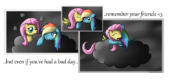 Size: 1600x747 | Tagged: safe, artist:kiyoshiii, fluttershy, rainbow dash, pegasus, pony, cheek kiss, cloud, cloudy, crying, duo, female, flutterdash, hug, kissing, lesbian, shipping