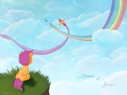 Size: 2000x1500 | Tagged: safe, artist:lisaorise, rainbow dash, scootaloo, pegasus, pony, cliff, cloud, cloudy, dream, facing away, female, filly, flying, grass, mare, rainbow trail, self ponidox, sky, spread wings, wings
