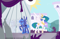 Size: 1500x975 | Tagged: safe, artist:egophiliac, princess celestia, princess luna, alicorn, pony, duality, duo, ethereal mane, eyes closed, female, hoof shoes, mare, mirror, raised hoof, royal sisters, s1 luna, sisters, spread wings, wings