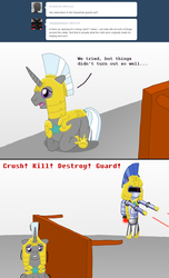 Size: 1000x1647 | Tagged: safe, artist:hakar-kerarmor, oc, oc:bastion, ask four inept guardponies, r-dash 5000, royal guard
