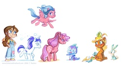Size: 1100x596 | Tagged: safe, artist:potatofarmgirl, applejack (g1), cotton candy (g1), firefly, glory, habbit, megan williams, spike (g1), human, alternate hairstyle, apple, concept art, g1, g1 to g4, generation leap, simple background