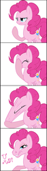 Size: 1079x3937 | Tagged: safe, artist:sakuyamon, pinkie pie, earth pony, pony, comic, facepull, female, hilarious in hindsight, hoers, mare, simple background, solo, trollface, u mad, wat, white background