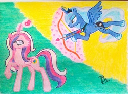 Size: 1094x804 | Tagged: safe, artist:zaza-fabelisto, princess cadance, princess luna, arrow, bow (weapon), cupid, traditional art, wat