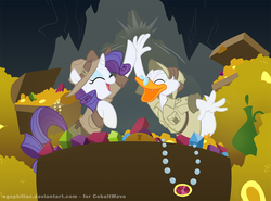 Size: 1200x886 | Tagged: safe, artist:egophiliac, rarity, bird, duck, pony, unicorn, clothes, crossover, duck tales, gem, high five, scrooge mcduck, treasure