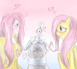 Size: 1259x1123 | Tagged: safe, artist:insanitylittlered, angel bunny, fluttershy, pony, human ponidox, humanized, humanized pet