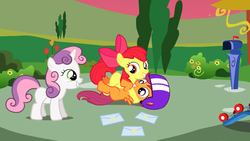 Size: 1280x720 | Tagged: safe, apple bloom, scootaloo, sweetie belle, ask the crusaders, cutie mark crusaders, mail, mailbox, scooter
