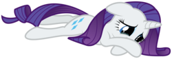 Size: 8771x3000 | Tagged: safe, artist:eytosh, rarity, absurd resolution, crying, lying, sad, simple background, solo, transparent background, vector