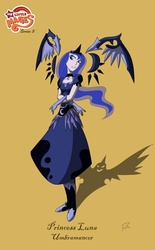 Size: 870x1404 | Tagged: artist:didj, artist:didjargo, humanized, my little mages, princess luna, safe, solo, unattached wings