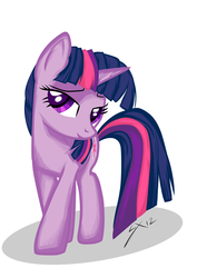 Size: 1083x1532 | Tagged: safe, artist:sierraex, twilight sparkle, pony, unicorn, bedroom eyes, female, grin, looking at you, mare, smiling, solo, unicorn twilight