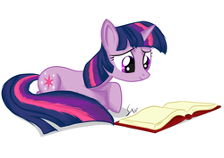 Size: 1491x1055   Tagged: safe, artist:sierraex, twilight sparkle, pony, unicorn, book, female, mare, prone, reading, simple background, smiling, solo, unicorn twilight, white background