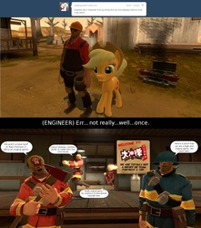 Size: 1450x1640 | Tagged: safe, artist:geronkizan, applejack, ask applejack and red engineer, chinese knock-off, engineer, final combat, gmod, red, rip-off, soldier, team fortress 2, teleporter, the rocket, tumblr, tumblr comic