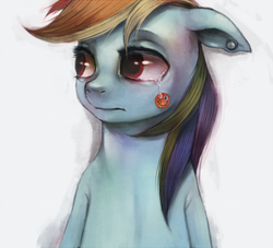 Size: 750x680 | Tagged: artist:crookedtrees, crying, dead source, rainbow dash, sad, safe, solo