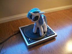 Size: 3664x2748 | Tagged: artist needed, dj pon-3, irl, photo, plushie, record player, safe, solo, turntable, vinyl scratch