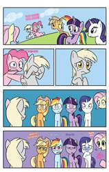 Size: 800x1257   Tagged: safe, artist:blubhead, applejack, derpy hooves, fluttershy, pinkie pie, rainbow dash, rarity, twilight sparkle, pegasus, pony, unicorn, angry, cloud, comic, confused, crying, female, grass, hoof over eye, mane six, mare, missing cutie mark, pointing, screaming, shocked, shove, smiling, underp, what in tarnation