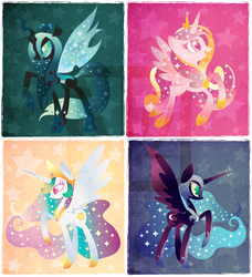 Size: 1442x1578 | Tagged: safe, artist:disfiguredstick, nightmare moon, princess cadance, princess celestia, queen chrysalis, alicorn, changeling, changeling queen, pony, female
