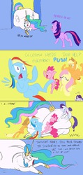 Size: 488x1024 | Tagged: safe, artist:ross irving, applejack, fluttershy, pinkie pie, princess celestia, rainbow dash, rarity, twilight sparkle, blushing, chubbylestia, colored sketch, fat, impossibly large ass, mane six, plot, stuck, the ass is monstrously oversized for tight entrance