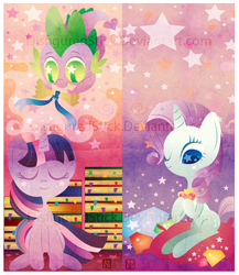 Size: 665x767 | Tagged: safe, artist:disfiguredstick, rarity, spike, twilight sparkle