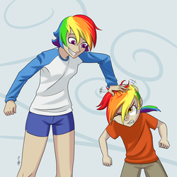 Size: 3000x3000 | Tagged: safe, artist:7nights, rainbow dash, oc, oc:rainbow feather, high res, humanized, interspecies offspring, like mother like daughter, magical lesbian spawn, mother and daughter, offspring, parent:gilda, parent:rainbow dash, parents:gildash