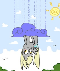Size: 874x1039 | Tagged: safe, artist:trackpad mcderp, derpy hooves, pegasus, pony, cloud, cloudy, female, mare, rain, upside down