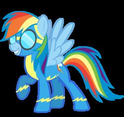 Size: 1600x1513   Tagged: dead source, safe, artist:sierraex, rainbow dash, pegasus, pony, clothes, female, goggles, mare, simple background, solo, transparent background, uniform, vector, wonderbolts uniform