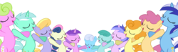 Size: 1600x473 | Tagged: safe, artist:pikamander2, amethyst star, bon bon, carrot top, cloud kicker, daisy, dizzy twister, flower wishes, golden harvest, lyra heartstrings, minuette, orange swirl, sea swirl, seafoam, shoeshine, spring melody, sprinkle medley, sweetie drops, earth pony, pony, unicorn, background pony, female, mare