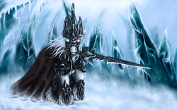 Size: 1920x1200 | Tagged: safe, artist:mugi-hamster, pony, armor, arthas menethil, cape, clothes, crossover, frostmourne, g1, glowing eyes, ice, lich king, looking at you, mouth hold, ponified, snow, snowfall, solo, sword, warcraft, weapon