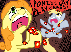 Size: 2338x1700 | Tagged: safe, artist:rustydooks, artist:tess, carrot top, derpy hooves, golden harvest, pegasus, pony, card, card games, dialogue, female, mare, ponies can't play cards