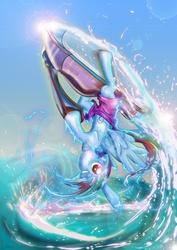 Size: 3508x4961 | Tagged: safe, artist:toonlancer, rainbow dash, clothes, jet ski, solo, upside down, water