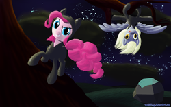 Size: 2000x1250 | Tagged: safe, artist:deathpwny, derpy hooves, pinkie pie, tom, earth pony, pegasus, pony, clothes, duo, female, mare, night, rock, stars, upside down