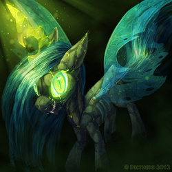 Size: 800x800 | Tagged: dead source, safe, artist:delthero, queen chrysalis, changeling, changeling queen, fangs, female, glowing eyes, glowing horn, signature, smiling, solo, standing