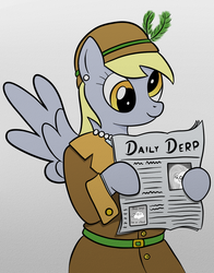 Size: 900x1150 | Tagged: safe, artist:plasters-ponies, derpy hooves, fluttershy, rainbow dash, anthro, beep beep, cloud, newspaper