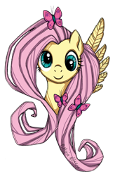 Size: 900x1371 | Tagged: safe, artist:kattvalk, fluttershy, butterfly, derp, traditional art